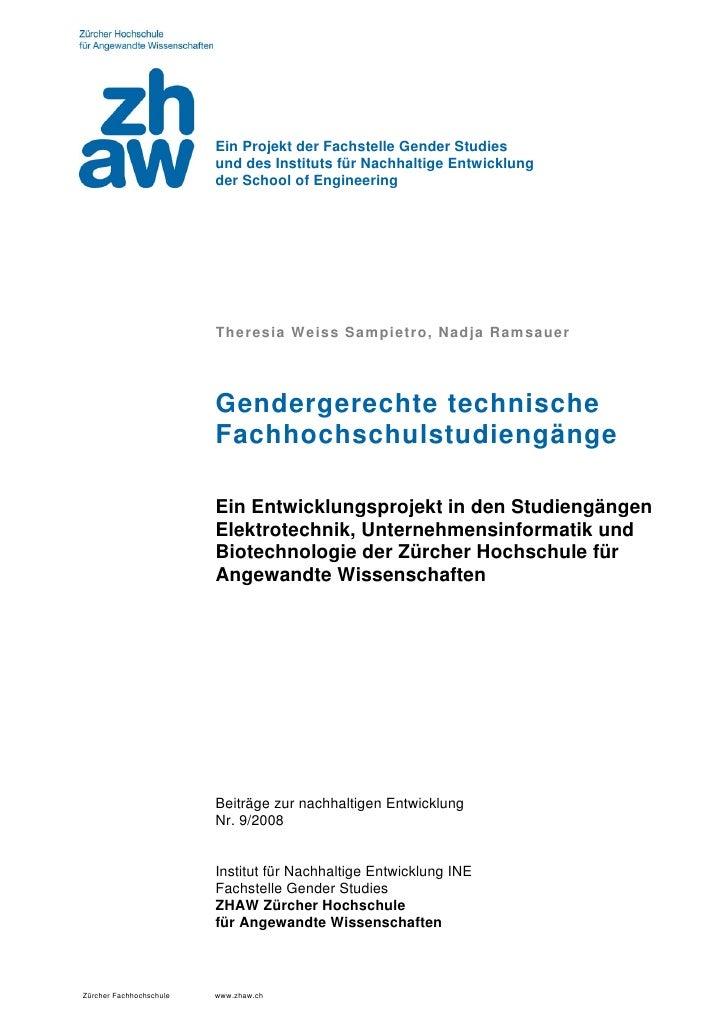 Ein Projekt der Fachstelle Gender Studies                         und des Instituts für Nachhaltige Entwicklung           ...