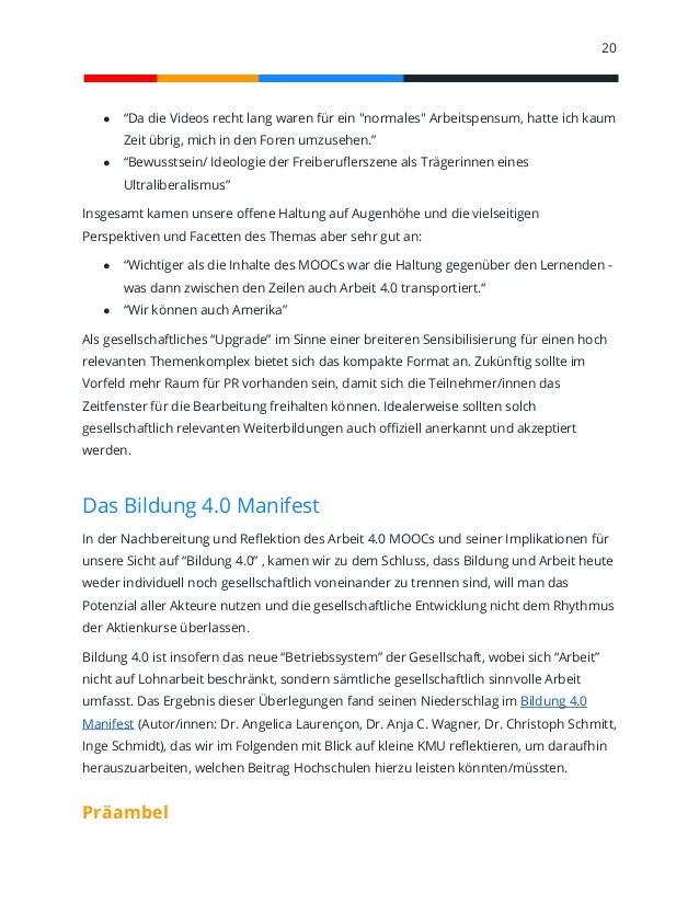 Arbeit 4.0 MOOC. Bericht und Erkenntnisse für Bildung 4.0