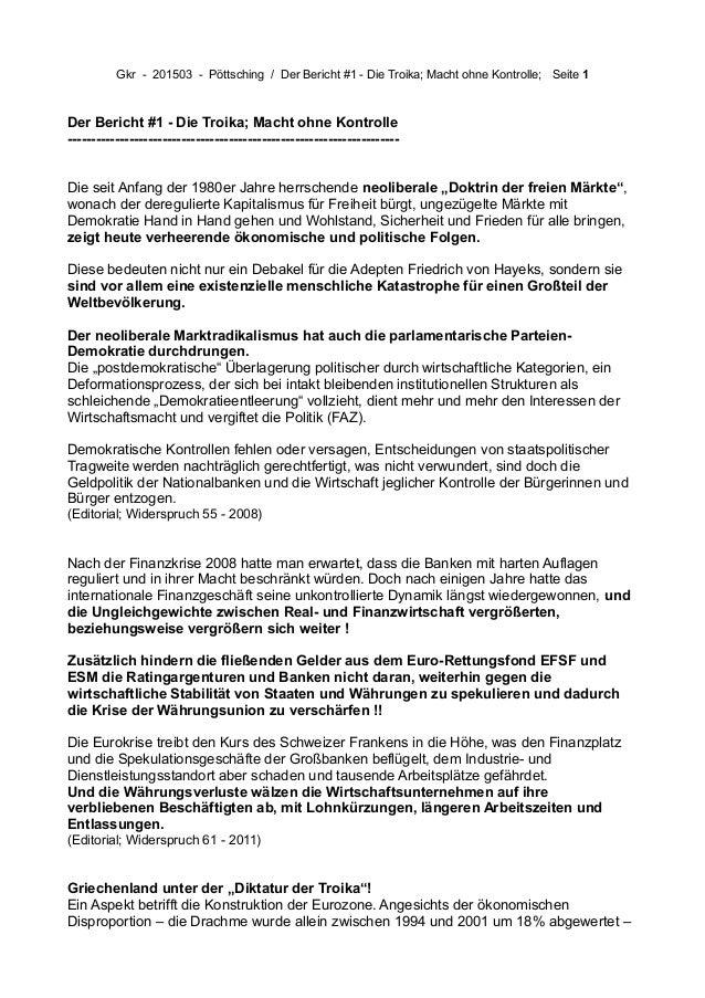 Gkr - 201503 - Pöttsching / Der Bericht #1 - Die Troika; Macht ohne Kontrolle; Seite 1 Der Bericht #1 - Die Troika; Macht ...