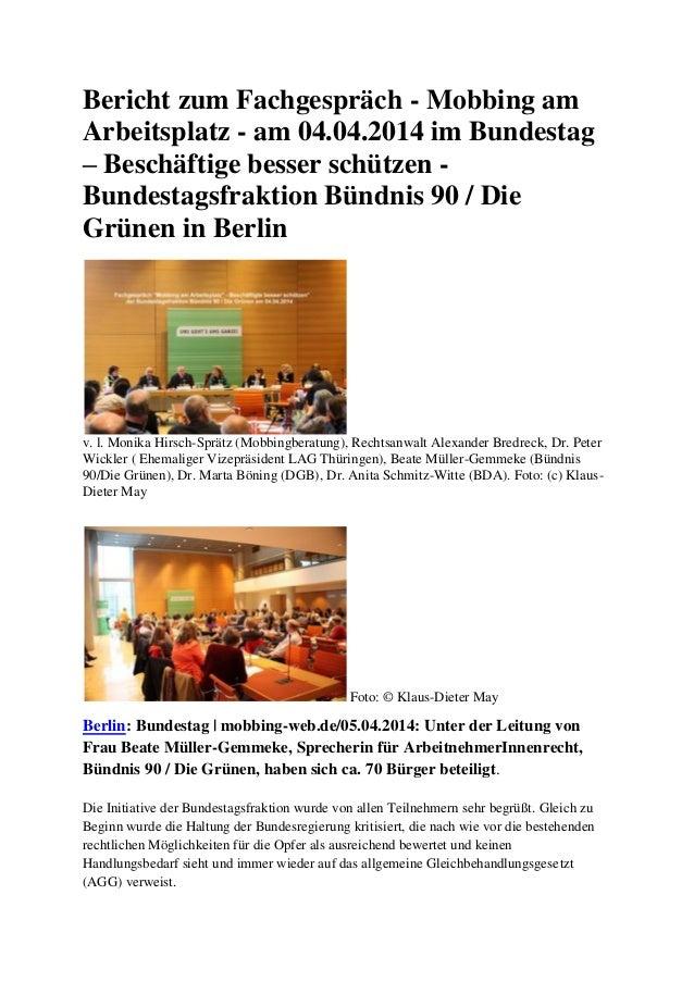 Bericht zum Fachgespräch - Mobbing am Arbeitsplatz - am 04.04.2014 im Bundestag – Beschäftige besser schützen - Bundestags...