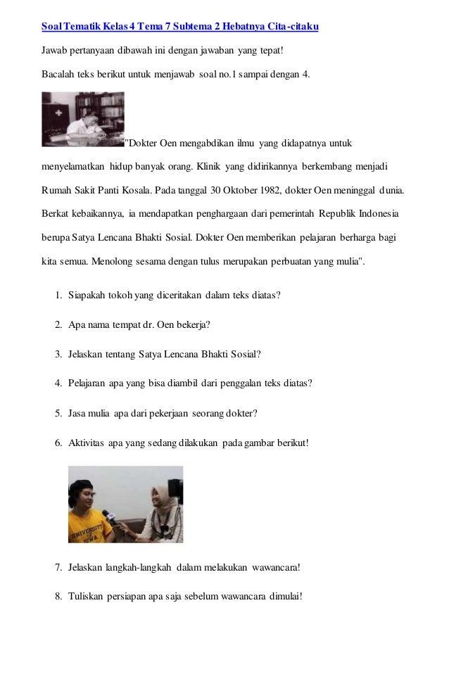 Berikut Soal Tematik Kelas 4 Sd Tema 7 Subtema 1