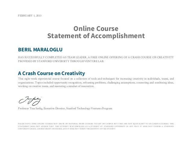 FEBRUARY 1, 2013                                Online Course                         Statement of AccomplishmentBERIL MAR...