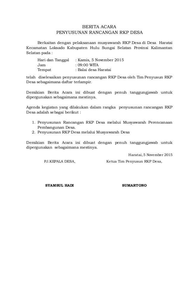Berita Acara Musyawarah Desa Rkp Des