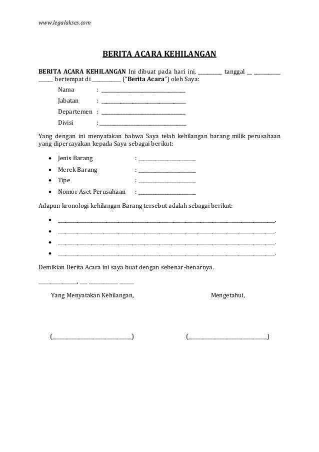 Contoh Surat Pernyataan Dokumen Hilang Frog Slinger