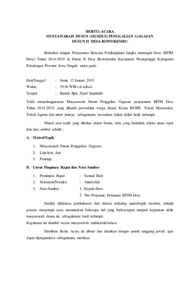 Berita Acara Mus Dusun