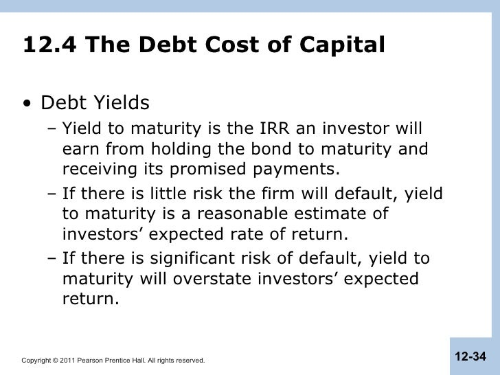 Cost of debt yield to maturity