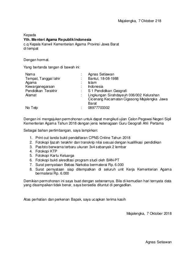 Majalengka, 7 Oktober 218 Kepada Yth. Menteri Agama Republik Indonesia c.q Kepala Kanwil Kementerian Agama Provinsi Jawa B...