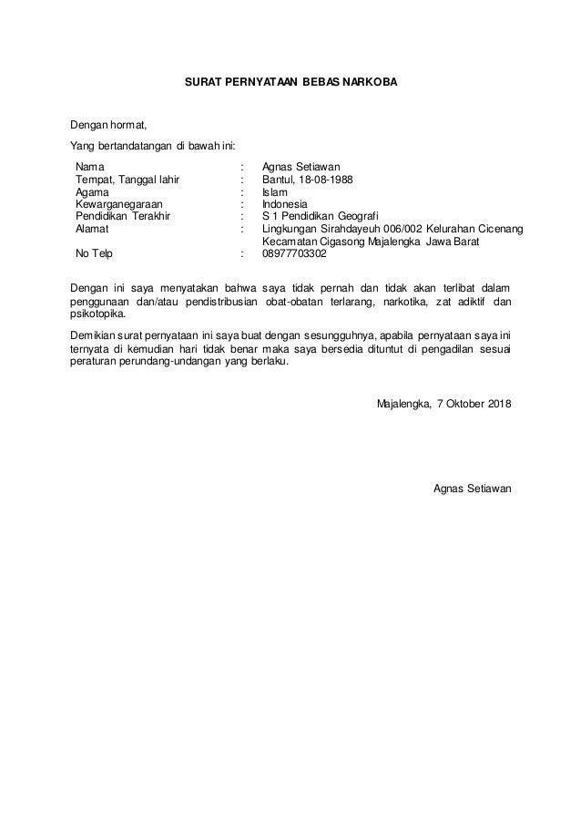 Contoh Surat Lamaran Dan Pernyataan Cpns Kemenag
