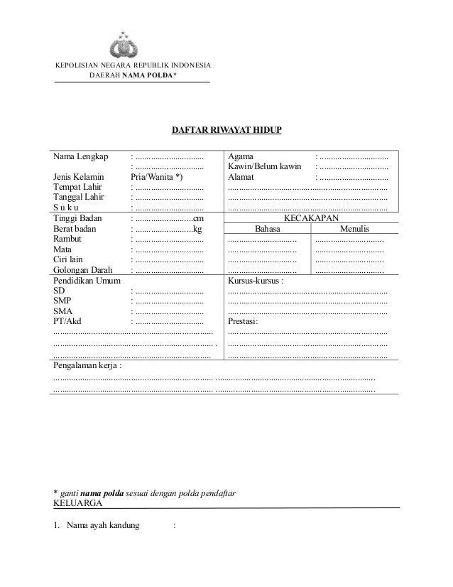 Contoh Daftar Riwayat Hidup Pendaftaran Polri