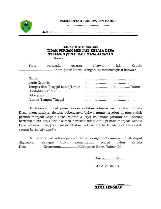Berkas Persyaratan Menjadi Calon Kepala Desa
