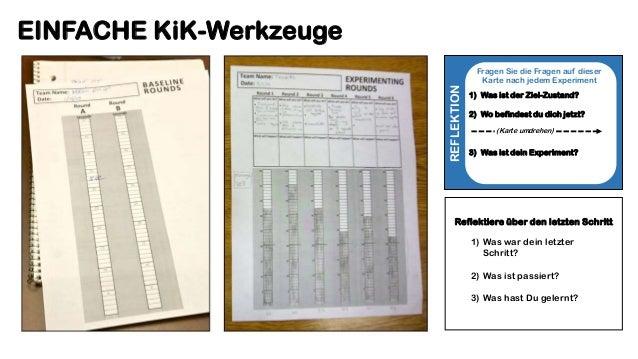 EINFACHE KiK-Werkzeuge REFLEKTION Fragen Sie die Fragen auf dieser Karte nach jedem Experiment 1) Was ist der Ziel-Zustand...
