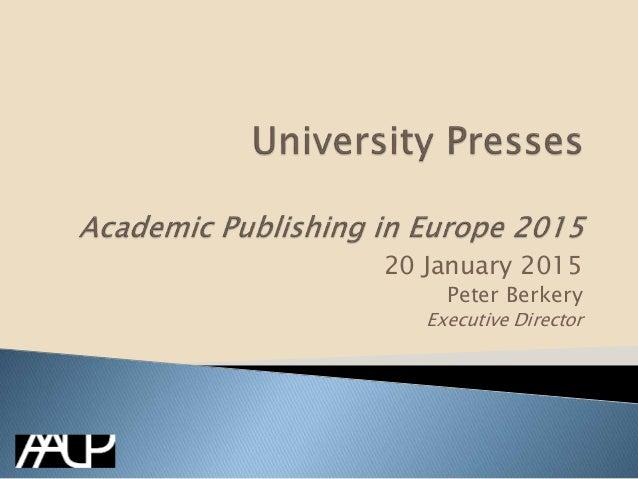 20 January 2015 Peter Berkery Executive Director