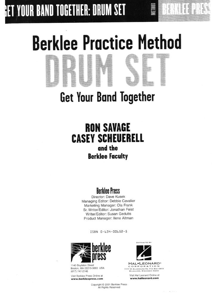 Berklee practice method   drum set - get your band together