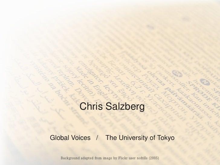 WhatProjectLinguacantellus    aboutthefutureofnews                       ChrisSalzberg       GlobalVoices/...