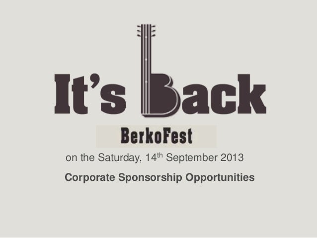 on the Saturday, 14th September 2013Corporate Sponsorship Opportunities