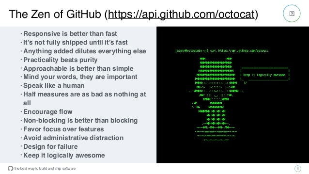 the best way to build and ship software The Zen of GitHub (https://api.github.com/octocat) 6 • Responsive is better than f...
