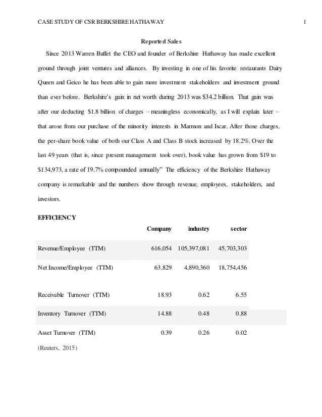 berkshire hathaway and geico case study Berkshire hathaway case study of warren e buffet essay - case study of warren e buffet in 1995 berkshire hathaway has made a bid for the shares of geico.