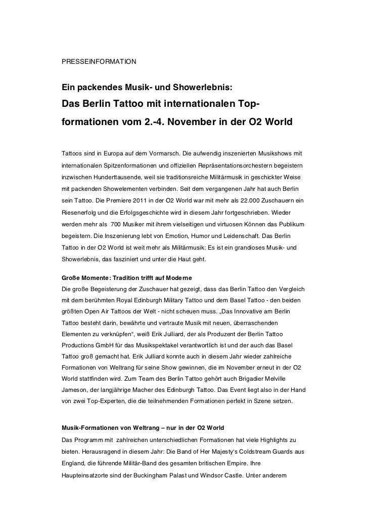 PRESSEINFORMATIONEin packendes Musik- und Showerlebnis:Das Berlin Tattoo mit internationalen Top-formationen vom 2.-4. Nov...