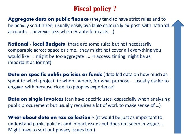 Fiscal policy ? Aggregate data on public finance (they tend to have strict rules and to be heavily scrutinized, usually ea...