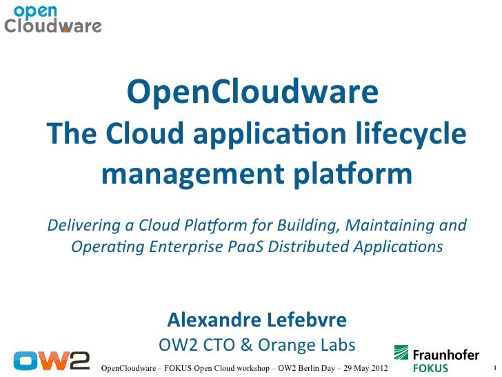 OpenCloudwareThe Cloud applicaton lifecycle   management platformDelivering a Cloud Platorm for Building, Maintaining and ...