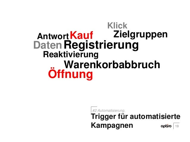 ÖffnungKlickKaufAntwort ZielgruppenDatenReaktivierungWarenkorbabbruchRegistrierung19Trigger für automatisierteKampagnen#2 ...