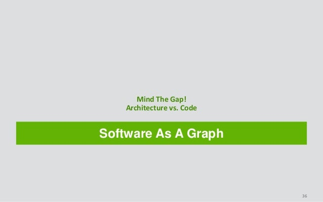 Software As A Graph Mind The Gap! Architecture vs. Code 36