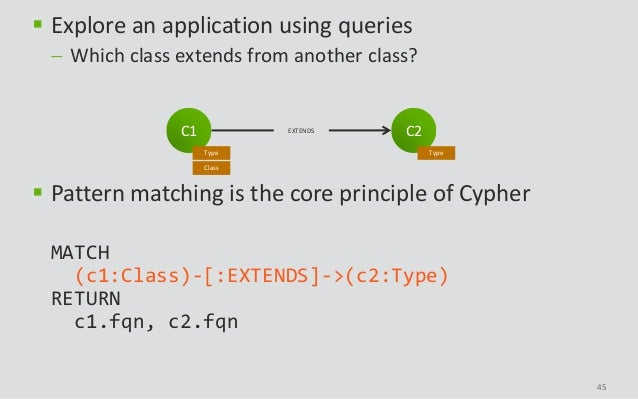 45  Explore an application using queries  Which class extends from another class?  Pattern matching is the core princip...