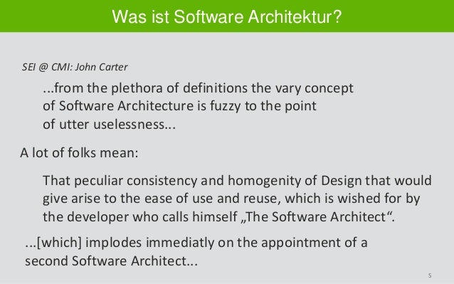 5 Was ist Software Architektur? ...from the plethora of definitions the vary concept of Software Architecture is fuzzy to ...