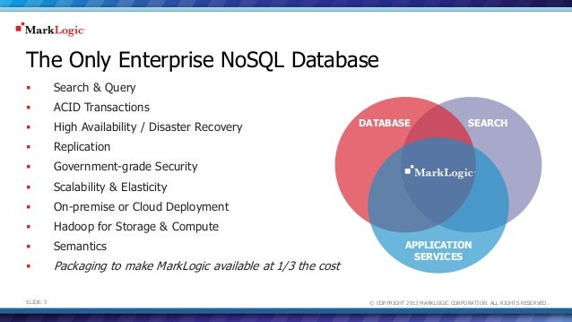 © COPYRIGHT 2013 MARKLOGIC CORPORATION. ALL RIGHTS RESERVED.SLIDE: 5 The Only Enterprise NoSQL Database  Search & Query ...