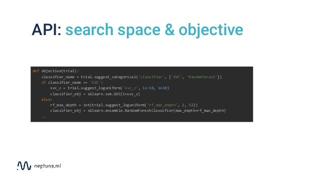 API: search space & objective def objective(trial): classifier_name = trial.suggest_categorical('classifier', ['SVC', 'Ran...