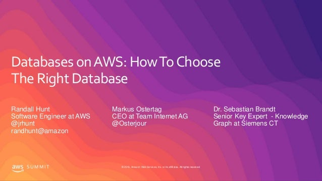 © 2019, Amazon Web Services, Inc. or its affiliates. All rights reserved.S U M M I T Databases onAWS: HowToChoose The Righ...