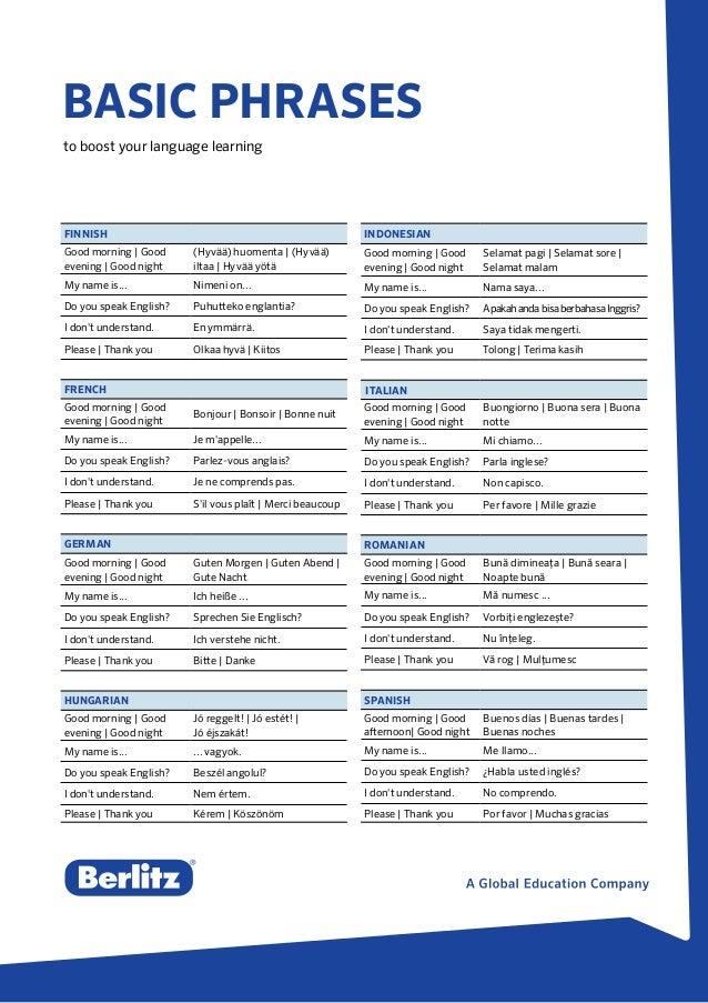 Berlitz Tip - Basic Phrases for Language Learning