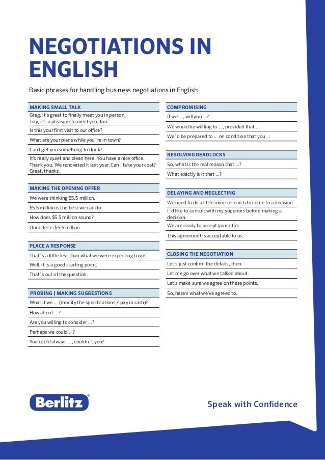 Berlitz Tip - Negotiations in English