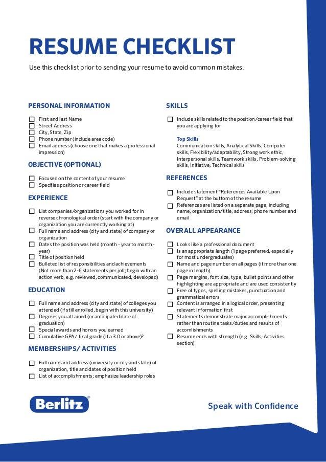 Resume Checklist Of Personal Skills Professional Resume Templates