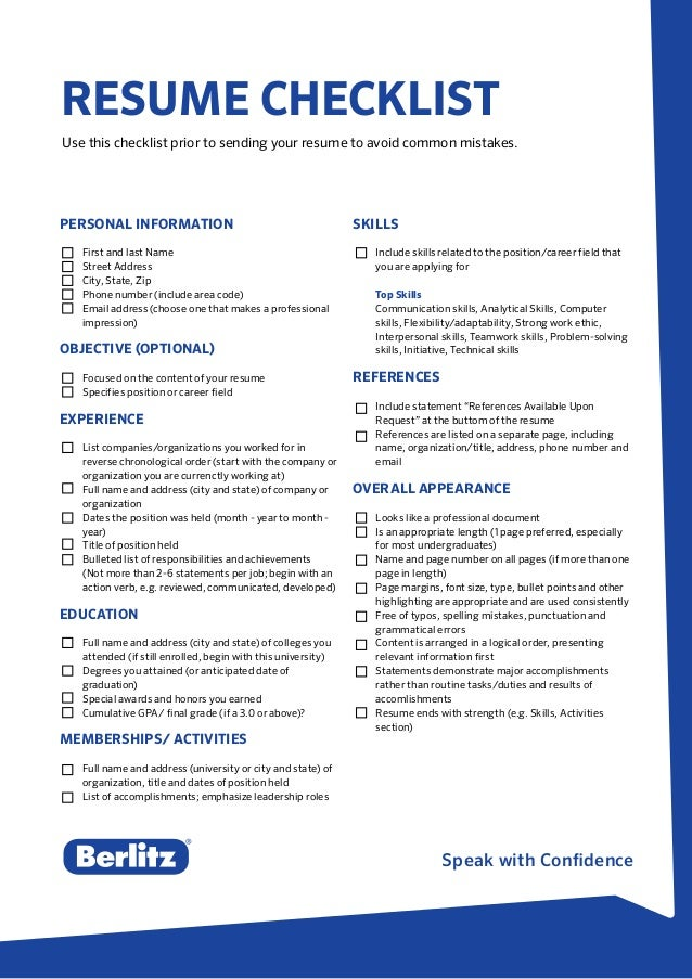 speak with confidence resume checklist use this checklist prior to sending your resume to avoid common