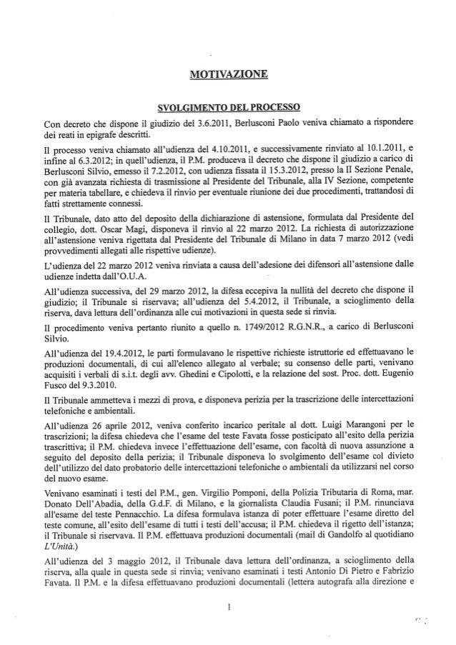 Berlusconi motivazione sentenza intercettazioni e pubblicazione consorte fassino abbiamo una banca