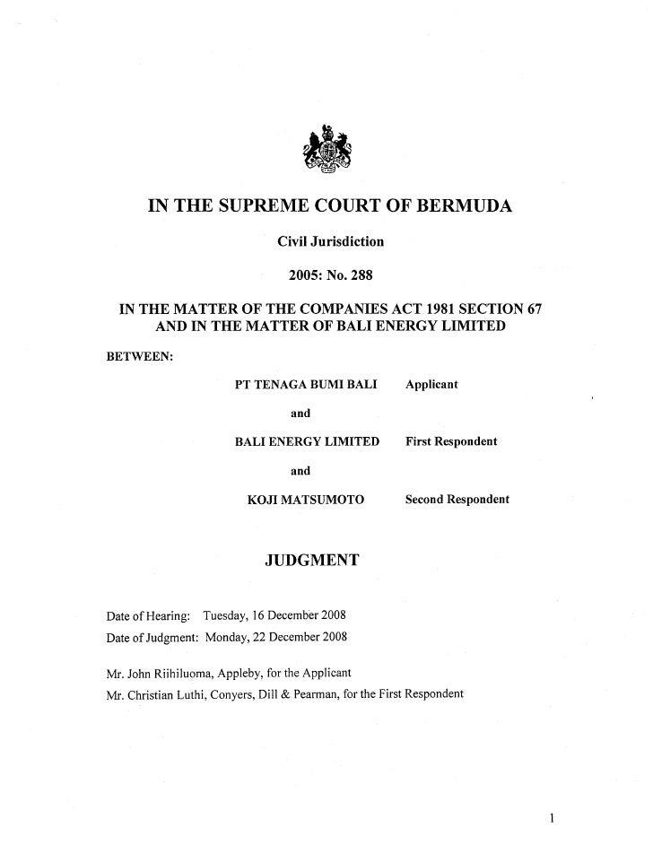 Bermuda supreme court judgement