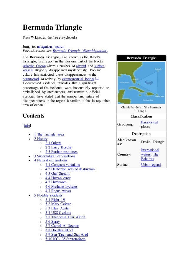 Bermuda Triangle From Wikipedia, the free encyclopedia Jump to: navigation,  search For other ...