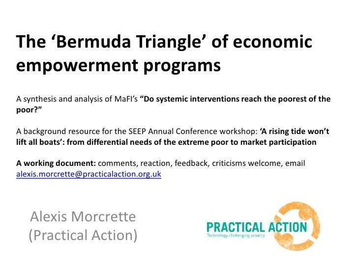 """The 'Bermuda Triangle' of economic empowerment programs<br />A synthesis and analysis of MaFI's""""Do systemic interventions ..."""