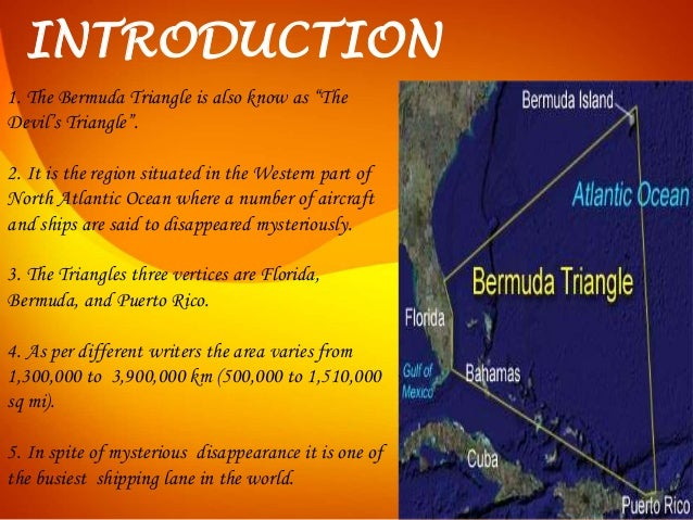 short essays on bermuda triangle The bermuda triangle is a region in the world, which is located to the south-east of the united states and for years so many ships and planes have lost while trying to pass through it.