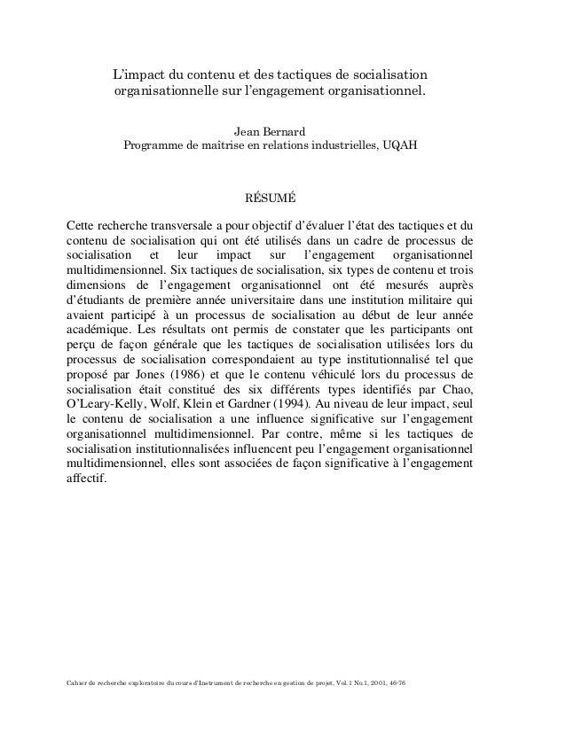 Cahier de recherche exploratoire du cours d'Instrument de recherche en gestion de projet, Vol.1 No.1, 2001, 46-76 L'impact...