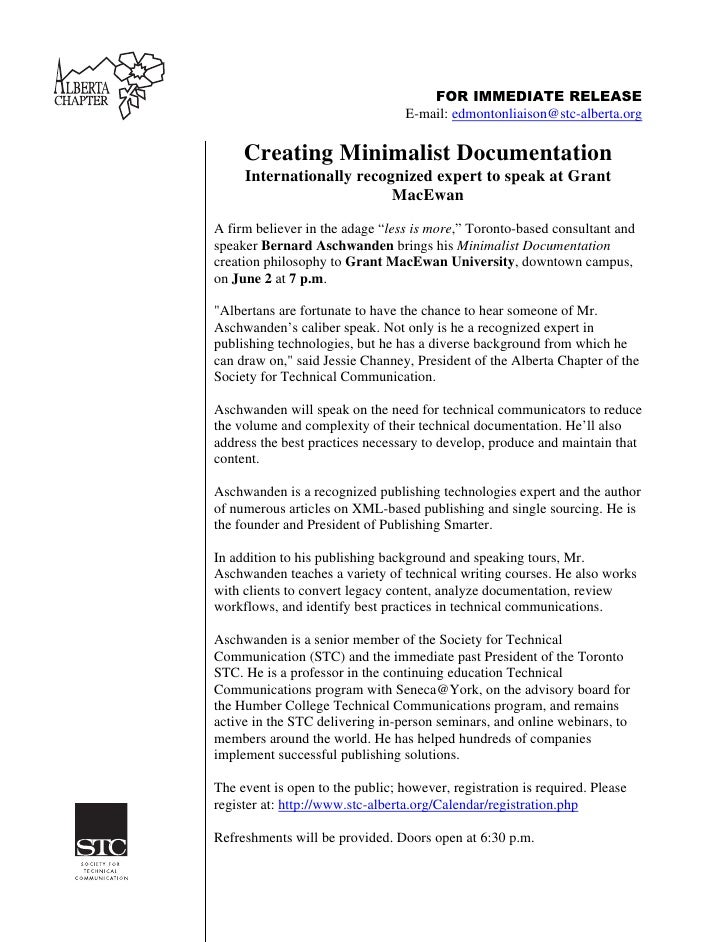 FOR IMMEDIATE RELEASE                                   E-mail: edmontonliaison@stc-alberta.org       Creating Minimalist ...