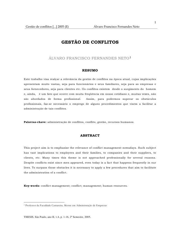 1     Gestão de conflitos [...] 2005 (E)                        Álvaro Francisco Fernandes Neto                           ...