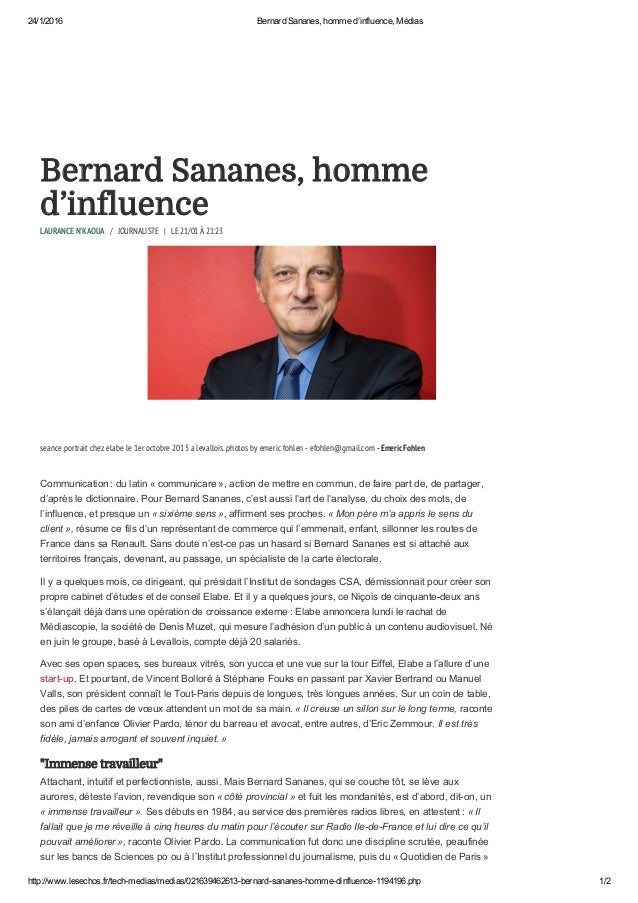 24/1/2016 BernardSananes,hommed'influence,Médias http://www.lesechos.fr/techmedias/medias/021639462613bernardsanane...