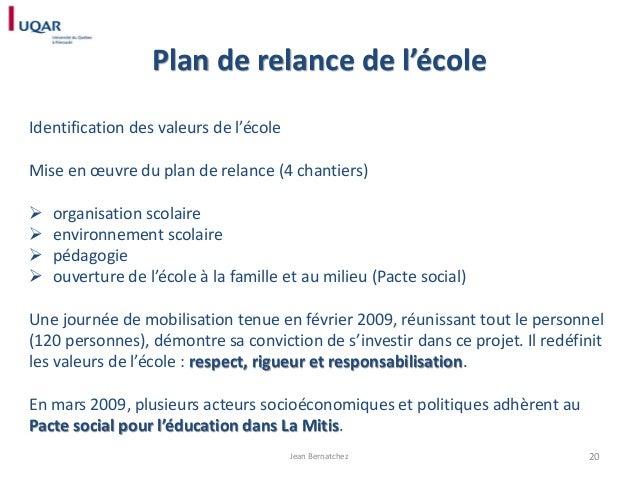 Plan de relance de l'école Identification des valeurs de l'école  Mise en œuvre du plan de relance (4 chantiers)      ...