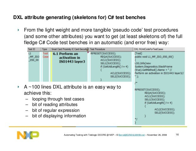 ... procedures; 16. Automating Testing with Telelogic DOORS ...  sc 1 st  SlideShare & Dr. Bernd GRAHLMANN and NXP automating testing with Telelogic DOORS @\u2026