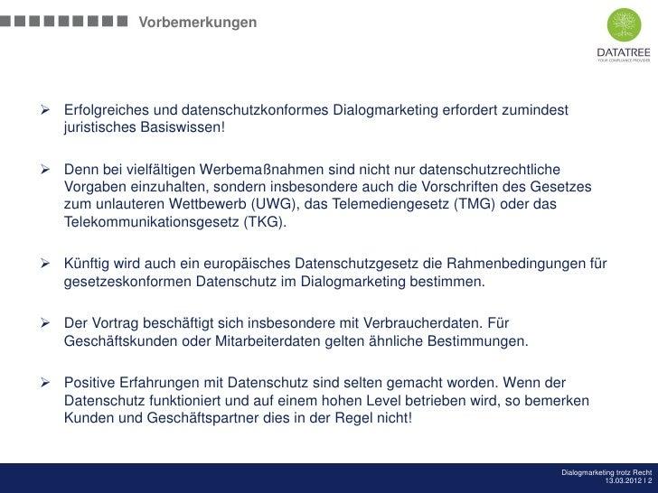 Bernd Fuhlert: AMC Arbeitskreis - Dialogmarketing trotz Recht Slide 2