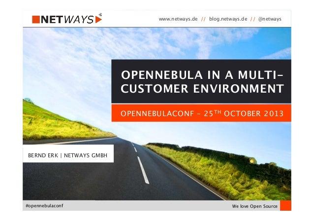 www.netways.de // blog.netways.de // @netways  We love Open Source #opennebulaconf OPENNEBULACONF – 25TH OCTOBER 2013 OPEN...