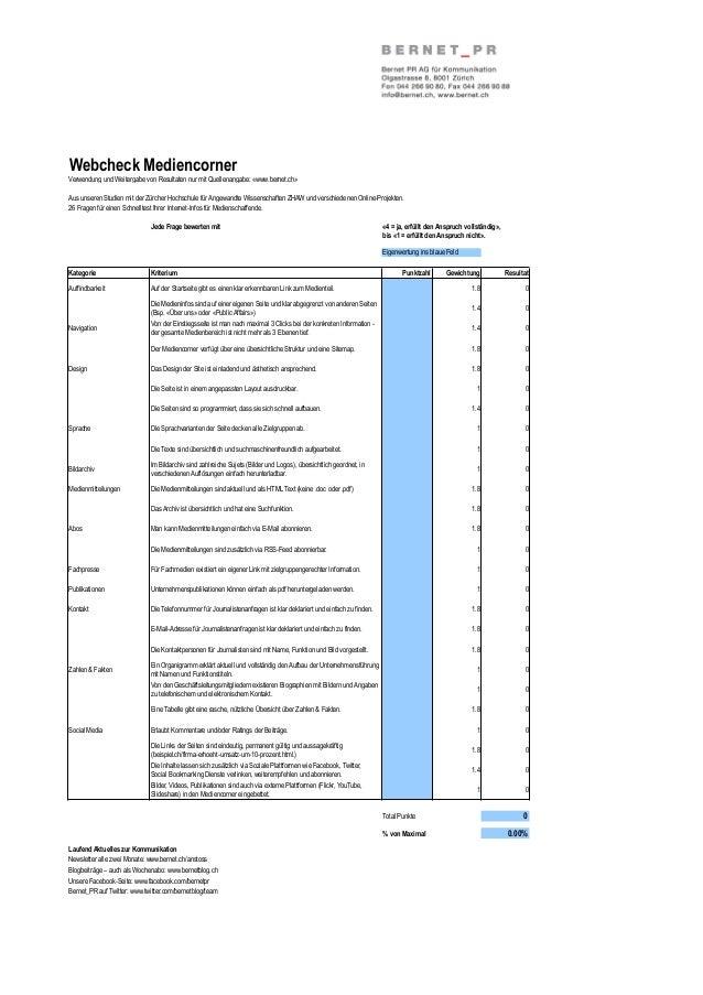 Webcheck MediencornerVerwendung und Weitergabe von Resultaten nur mit Quellenangabe: «www.bernet.ch»Aus unseren Studien mi...