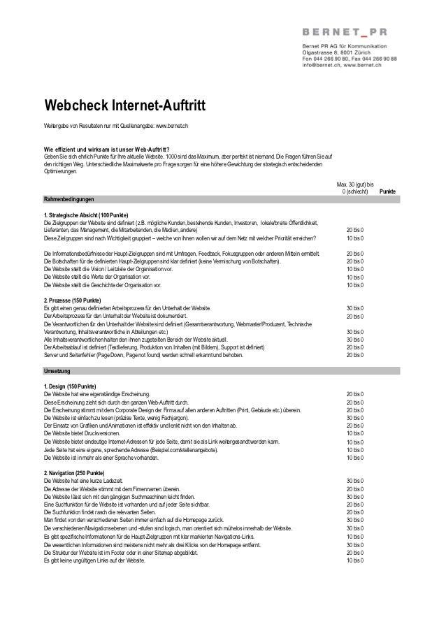 Webcheck Internet-AuftrittWeitergabe von Resultaten nur mit Quellenangabe: www.bernet.chWie effizient und wirksam ist unse...